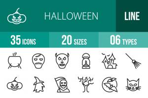 35 Halloween Line Icons - Overview - IconBunny