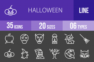 35 Halloween Line Inverted Icons - Overview - IconBunny