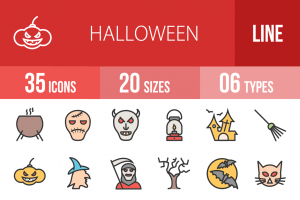 35 Halloween Line Multicolor Filled Icons - Overview - IconBunny