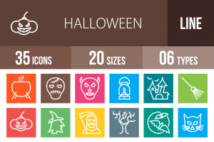 35 Halloween Line Multicolor B/G Icons - Overview - IconBunny