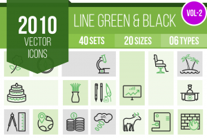 2010 Line Green & Black Icons Bundle - Overview - IconBunny