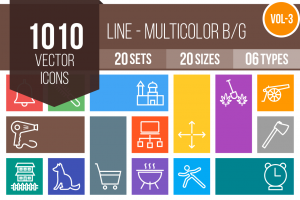 1010 Line Multicolor B/G Icons Bundle - Overview - IconBunny