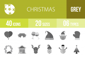 40 Christmas Greyscale Icons - Overview - IconBunny