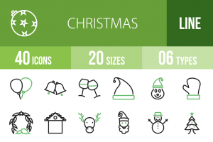 40 Christmas Line Green & Black Icons - Overview - IconBunny