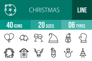 40 Christmas Line Icons - Overview - IconBunny