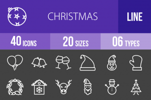 40 Christmas Line Inverted Icons - Overview - IconBunny