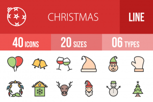 40 Christmas Line Multicolor Filled Icons - Overview - IconBunny