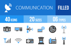 40 Communication Blue & Black Icons - Overview - IconBunny