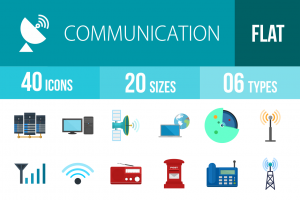 40 Communication Flat Multicolor Icons - Overview - IconBunny