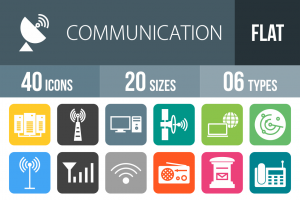 40 Communication Flat Round Corner Icons - Overview - IconBunny