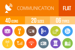 40 Communication Flat Round Icons - Overview - IconBunny