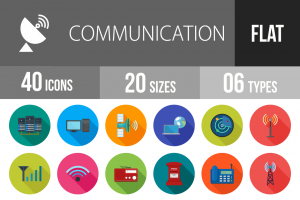 40 Communication Flat Shadowed Icons - Overview - IconBunny