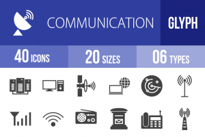 40 Communication Glyph Icons - Overview - IconBunny