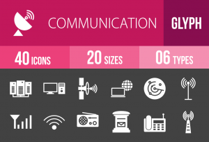 40 Communication Glyph Inverted Icons - Overview - IconBunny
