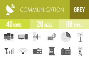 40 Communication Greyscale Icons - Overview - IconBunny