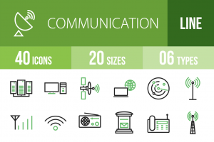 40 Communication Line Green & Black Icons - Overview - IconBunny