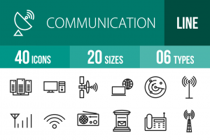 40 Communication Line Icons - Overview - IconBunny