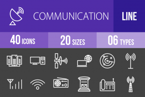 40 Communication Line Inverted Icons - Overview - IconBunny