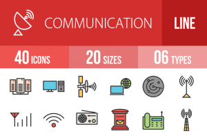 40 Communication Line Multicolor Filled Icons - Overview - IconBunny