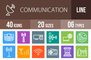 40 Communication Line Multicolor B/G Icons - Overview - IconBunny