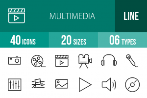 40 Multimedia Line Icons - Overview - IconBunny