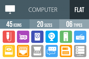45 Computer & Hardware Flat Round Corner Icons - Overview - IconBunny