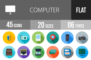 45 Computer & Hardware Flat Shadowed Icons - Overview - IconBunny