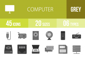 45 Computer & Hardware Greyscale Icons - Overview - IconBunny