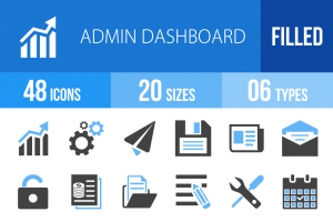 48 Admin Dashboard Blue & Black Icons - Overview - IconBunny