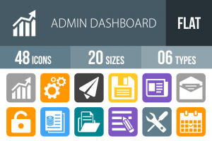 48 Admin Dashboard Flat Round Corner Icons - Overview - IconBunny