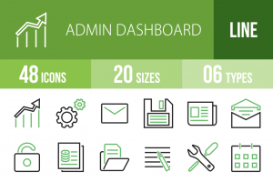 48 Admin Dashboard Line Green & Black Icons - Overview - IconBunny