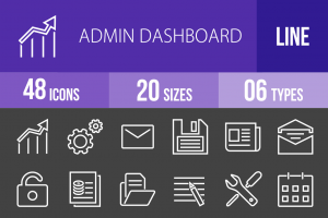48 Admin Dashboard Line Inverted Icons - Overview - IconBunny