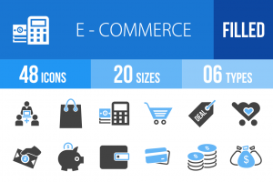 48 E-Commerce Blue & Black Icons - Overview - IconBunny