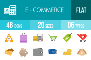 48 E-Commerce Flat Multicolor Icons - Overview - IconBunny