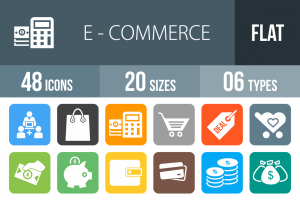 48 E-Commerce Flat Round Corner Icons - Overview - IconBunny