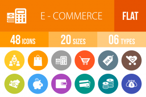 48 E-Commerce Flat Round Icons - Overview - IconBunny