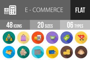 48 E-Commerce Flat Shadowed Icons - Overview - IconBunny