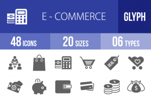 48 E-Commerce Glyph Icons - Overview - IconBunny