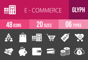 48 E-Commerce Glyph Inverted Icons - Overview - IconBunny