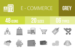 48 E-Commerce Greyscale Icons - Overview - IconBunny