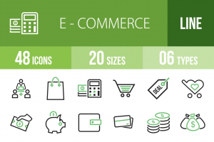 48 E-Commerce Line Green & Black Icons - Overview - IconBunny