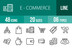 48 E-Commerce Line Icons - Overview - IconBunny