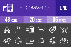 48 E-Commerce Line Inverted Icons - Overview - IconBunny