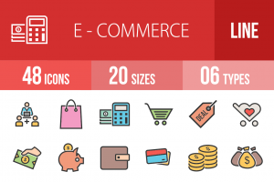48 E-Commerce Line Multicolor Filled Icons - Overview - IconBunny