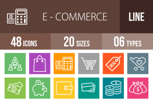 48 E-Commerce Line Multicolor B/G Icons - Overview - IconBunny
