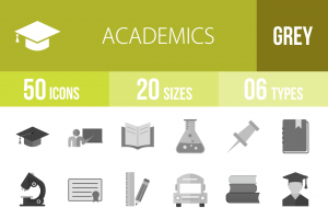 50 Academics Greyscale Icons - Overview - IconBunny