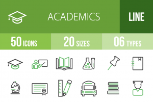 50 Academics Line Green & Black Icons - Overview - IconBunny