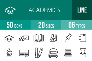 50 Academics Line Icons - Overview - IconBunny