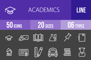 50 Academics Line Inverted Icons - Overview - IconBunny