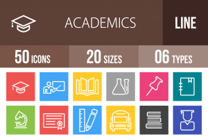 50 Academics Line Multicolor B/G Icons - Overview - IconBunny
